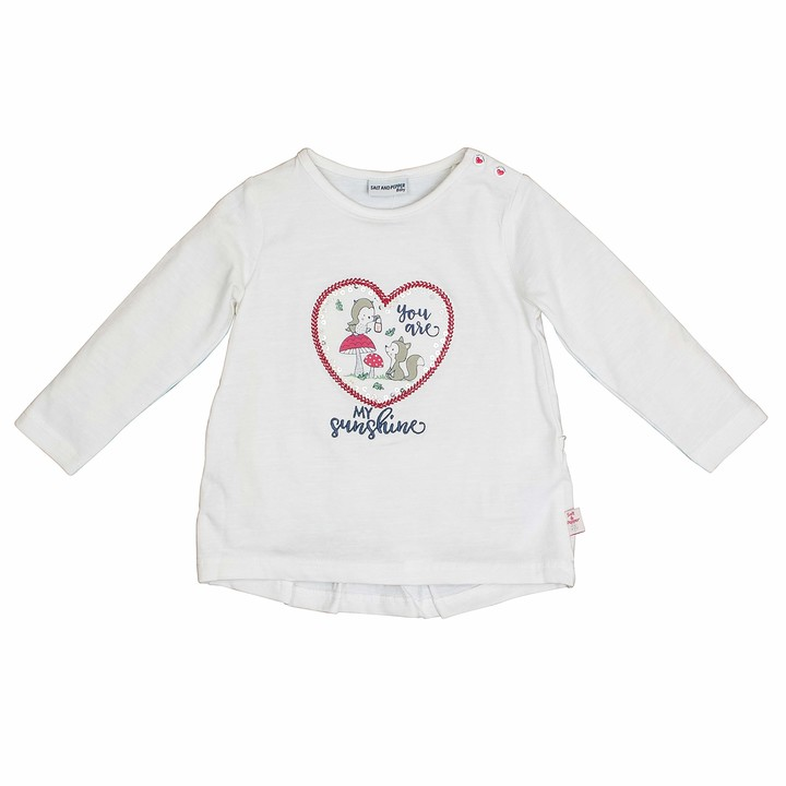 Salt&Pepper Salt and Pepper Baby Girls' Woodland Sunshine Herz Pailletten Longsleeve T-Shirt