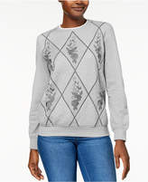 Alfred Dunner Petite Pastel Skies Quilted Embroidered Sweatshirt, Created for Macy's