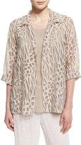Caroline Rose 3/4-Sleeve Animal-Print Burnout Jacket, Natural, Plus Size