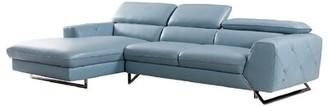 Susannah Leather Sectional Orren Ellis Upholstery Color: Aqua, Orientation: Left Hand Facing
