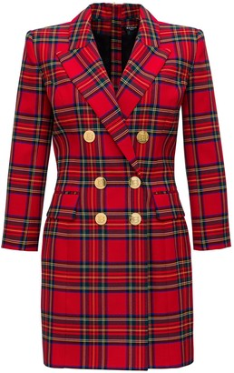 Balmain Tartan Blazer Dress