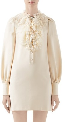 Gucci Lace Ruffle Compact Jersey Shirtdress