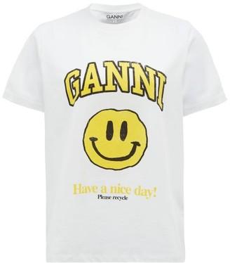 Ganni Smiling Face-print Organic-cotton T-shirt - White Multi
