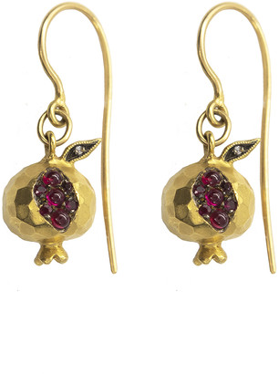 Cathy Waterman Ruby and Diamond Pomegranate Yellow Gold Drop Earrings