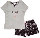 Rene Rofe Gray Puppy Tee & Shorts Pajama Set