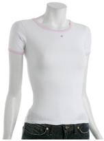 white pointelle striped trim t-shirt