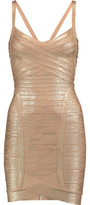 Herve Leger Kourtney Metallic Bandage Mini Dress