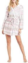 Kensie Holiday Fair Isle Microfleece Hooded Wrap Robe