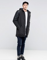 Brave Soul Premium Fish Tail Parka Jacket With Faux Leather Arms