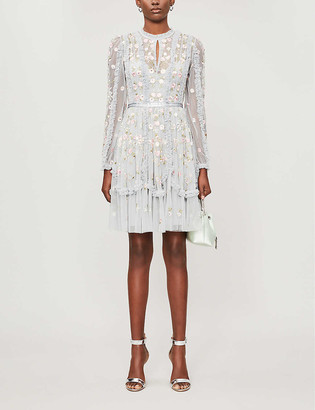 Needle And Thread Wallflower floral-embroidered tulle mini dress