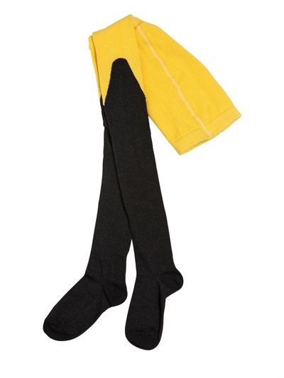 Two Tone Stretch Cotton Tights