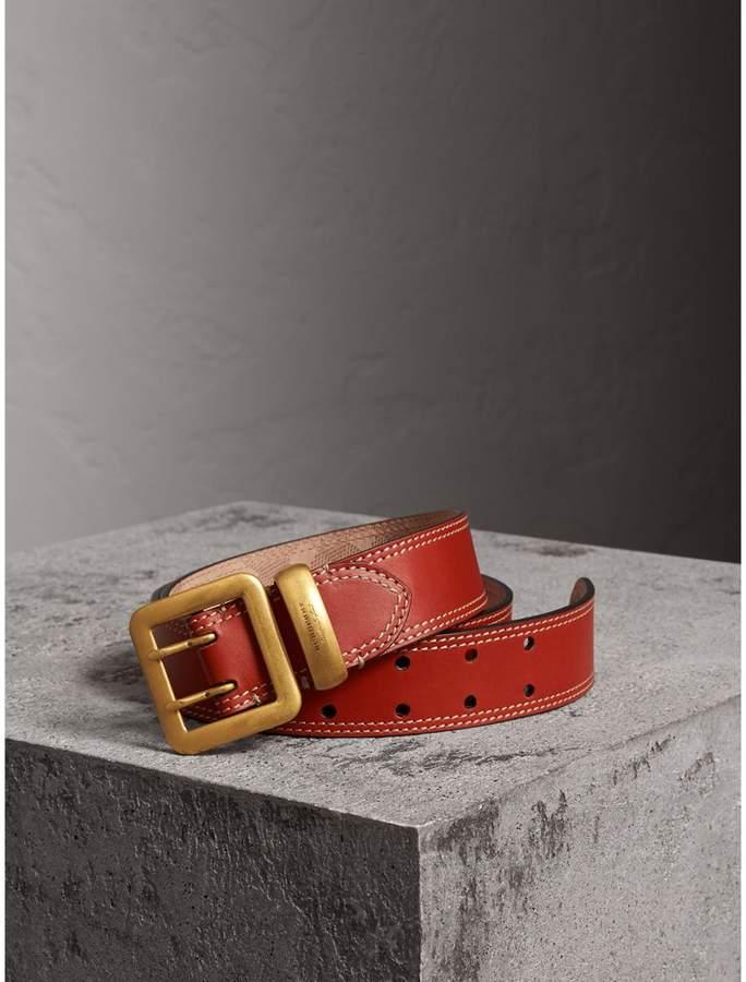 Burberry Topstitch Detail Leather Belt , Size: 110, Orange