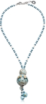 Antica Murrina Veneziana Papaya 3 Light Blue Pendant Necklace w/Pastel Murano Glass Beads
