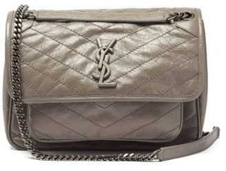 Saint Laurent Niki Medium plaque Leather Shoulder Bag - Grey