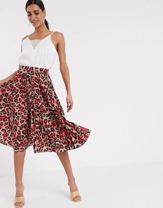 Closet London pleated midi skirt in blush leopard