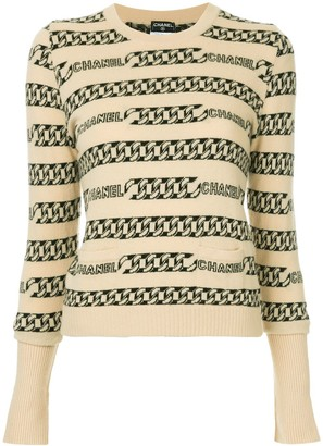 Chanel Pre Owned Chain-Intarsia Jumper