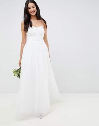 Little Mistress bandeau princess wedding dress with embellished detail-White