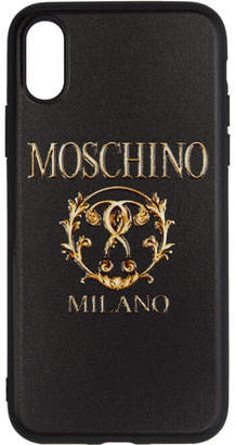 Moschino Black Textured Print iPhone X Case