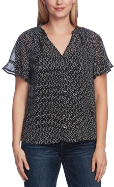 Vince Camuto Ruffle Cuff Ditsy Floral Blouse