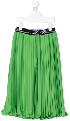 Miss Blumarine Pleated Wide-Leg Trousers