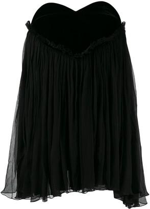 Saint Laurent plissé babydoll mini dress