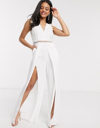 Love Triangle 3d lace jumpsuit with double thigh split in white