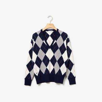 Lacoste Women's Deep V-Neck Jacquard Wool Sweater