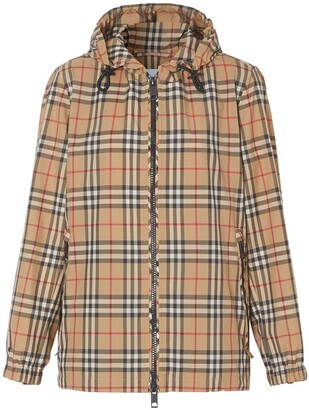Burberry Iconic Plaid Print Windbreaker Jacket