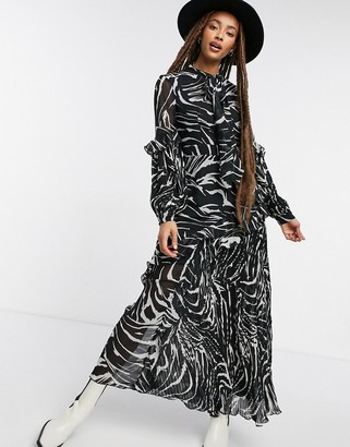 Topshop pleated midi dress in zebra print