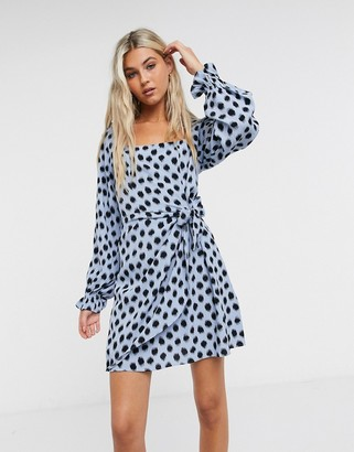 And other stories & long sleeve mini dress in blue and black polka dots