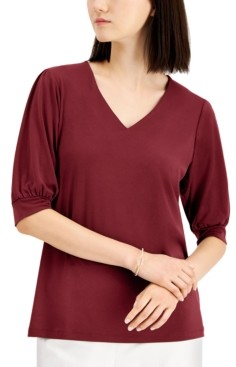 JM Collection Puff-Sleeve V-Neck Top, Created for Macy's