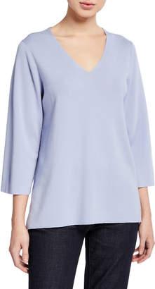 Eileen Fisher V-Neck 3/4-Sleeve Merino Wool Top