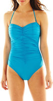 JCPenney A.N.A a.n.a Shirred Bandeau 1-Piece Swimsuit