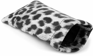 styleBREAKER sunglasses case with leopard print and cleaning cloth glasses pouch with snap fastening women 09020096