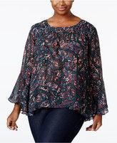 Jessica Simpson Trendy Plus Size Floral Blouse