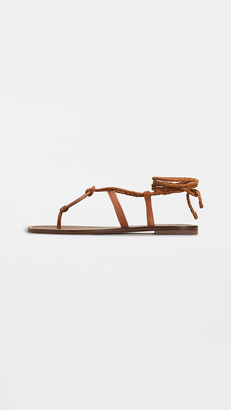 Tory Burch Miller Braided Ankle-Wrap Sandals