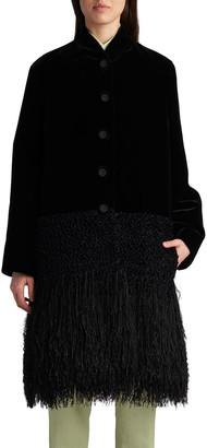 Giorgio Armani Velvet Boucle Panel Fringe-Hem Coat
