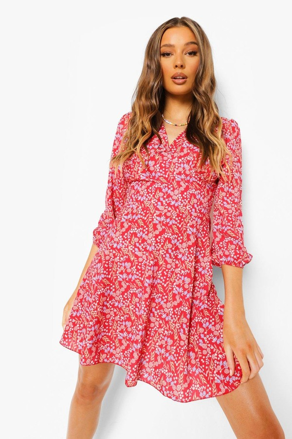 boohoo Floral Print 3/4 Sleeve Skater Dress