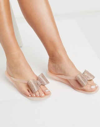ASOS DESIGN Fatima thongs with embellished bows in rose gold