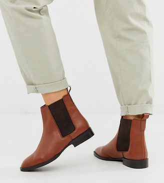 ASOS DESIGN Wide Fit April leather chelsea boots in brown