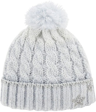 Monsoon Girls Ombre Evie Star Dazzle Cable Beanie Hat - Blue