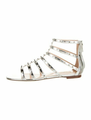 Valentino Leather Rockstud Sandals Silver