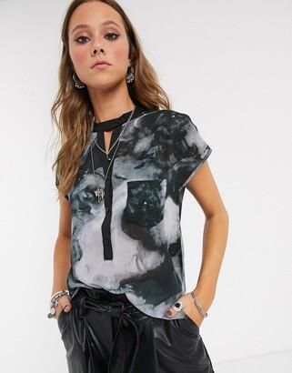Religion elation cap sleeve shirt in mist print-Multi