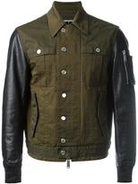 DSQUARED2 shirt effect bomber jacket - men - Cotton/Leather - 50