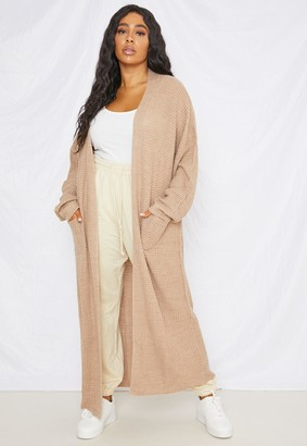 Missguided Plus Size Stone Waffle Knitted Maxi Cardigan