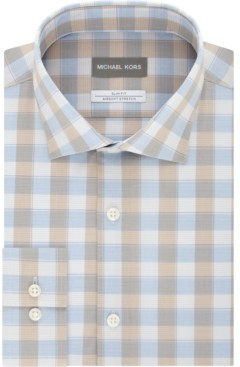 Michael Kors Men's Airsoft Slim-Fit Performance Stretch Check Dress Shirt
