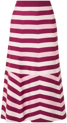 Gabriela Hearst Striped Wool And Cashmere-blend Midi Skirt