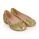 Chloé ChloeGirls Gold Glitter Scallop Edged Shoes