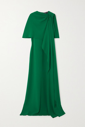 Oscar de la Renta Draped Cape-effect Stretch-silk Crepe Gown - Green
