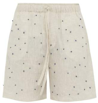 BEIGE Hecho - Knot Embroidered Linen Shorts - Mens